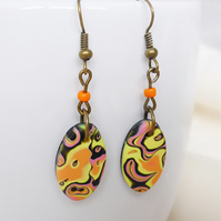Oval Colourful Dangly Earrings, Mokume Gane, Hand Polished