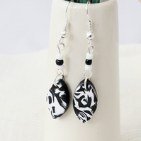 Black & White Dangly Polymer Clay Earrings