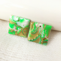 Set of 2 Square Pendants, Polymer Clay, Green, Bronze, Pearl, Mokume Gane