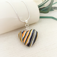 Love Heart Necklace, Stripes, Orange, Black, Grey, White, FREE U.K Postage