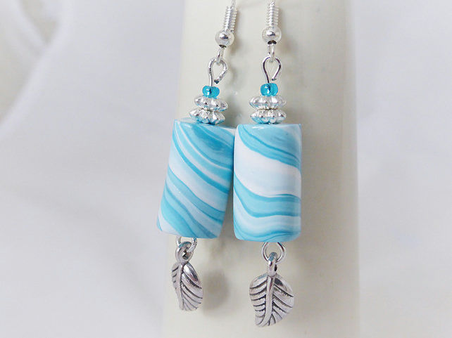 Turquoise Blue & White Tube Bead Dangly Earrings, Marble Effect, Polymer Clay
