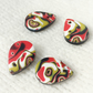 Set of 4 Handmade Small Teardrop Charms, Polymer Clay, Mokume Gane