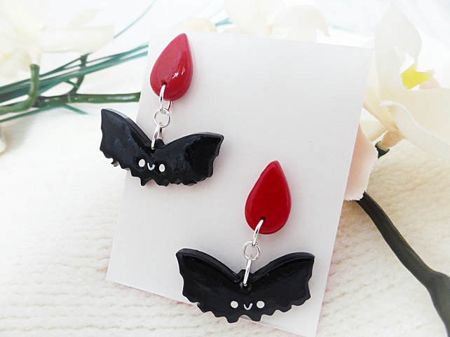 Halloween Vampire Bat Earrings, Halloween Earrings, Kawaii, Spooky Jewellery