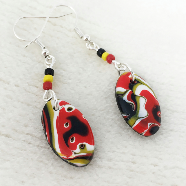Oval Dangly Earrings, Polymer Clay, Black, Red, Yellow, White, Silver Plated