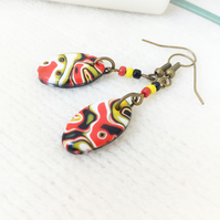 Bright Colourful Drop Earrings, Oval, Black, Red, Yellow, White, Free Uk Post