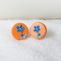 Shimmery Orange Round Stud Earrings With Blue Applique Flowers, Polymer Clay