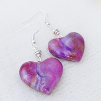 Heart Earrings, Dangly Heart Earrings, Purple, Pink Shimmer Tones.