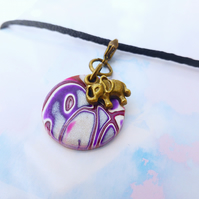 Disc and Elephant Journal Charm, Planner Charm, Bronze, Purple, Pink, Silver,
