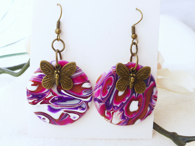 Bronze Butterfly and Purple Dark Pink Disc Statement Earrings, Polymer Clay