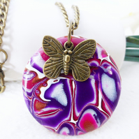 Purple and Pink Disc Necklace, Bronze Butterfly, Mokume Gane, Polymer Clay