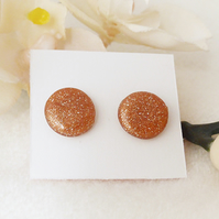 Sparkly Rose Gold Coloured Round Stud Earrings, Polymer Clay Earrings