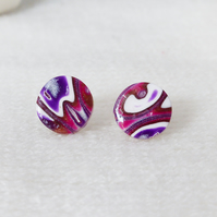 Round Stud Earrings, Dark Pink, Purple, White, Silver, Medium, Mokume Gane