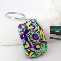 Chunky Keyring,  Flower Keyring, Polymer Clay, Green, Purple, Yellow, Bronze.