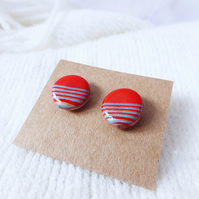 Striped Stud Earrings, Red, Ice Blue & Bronze, Polymer Clay, Hypoallergenic