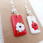 Mismatched Earrings, White and Red, Flowers, Dangly, Polymer Clay, Free UK Post