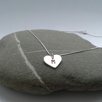 Personalised sterling silver heart necklace. Valentine's gift.