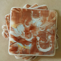 Horse Shoe Hand Painted Fused Glass Coasters (x4) - For The BROOKE CHARITY