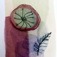 Original 'Bloom and Leaf' - Textile Art, Free Style Embroidery - Jane Woodman