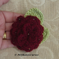 Burgundy Crocheted Be-jewelled Corsage.