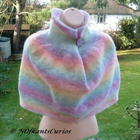 Pastel Rainbow Polo Poncho, Crocheted with Button Adornment.