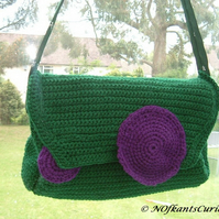 Tied to Wimbledon!  Crocheted and Quilted Handbag with Gent's Tie Strap