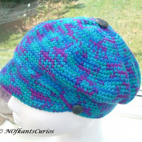 Turquoise Partie!  Crocheted Flat Cap in Turquoise, Teal & Purple!