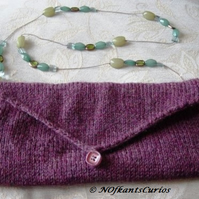 Grape Delight! Hand knitted & Crocheted Handbag with lucite Bead Strap