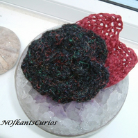 Scottish Rose!  Crocheted Structural Rose Hair Accessory with Burgundy Leaves