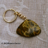 Walnut! Unusual Ocean Jasper Gemstone Key ring or Handbag Charm