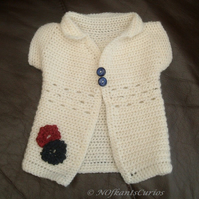 Newborn Patriotic Baby!  Crocheted Floral Summer Jacket.