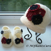 Newborn Patriotic Baby!  Crocheted Floral Hat & ballet Shoes Set