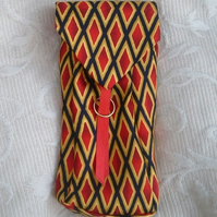 Tied to Royal Harlequin!  Pencil Case or Gadget Pouch made from Gent's Neck Tie