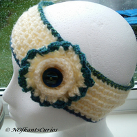 Cream and Turquoise Tones Crocheted Floral Headband, or Ear Cosy.