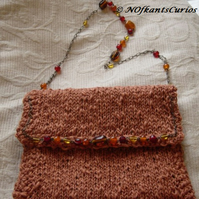 Russet Gem! Hand knitted and crocheted handbag with glass bead detail