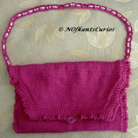 Fuchsia Frill! Hand Knitted & Crocheted Handbag with Bead strap