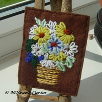 Vibrant Bouquet Embroidered Yarn and Felt ACEO.