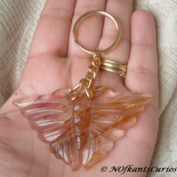 Volcano Cherry Quartz Butterfly Handbag Charm or Key Ring.