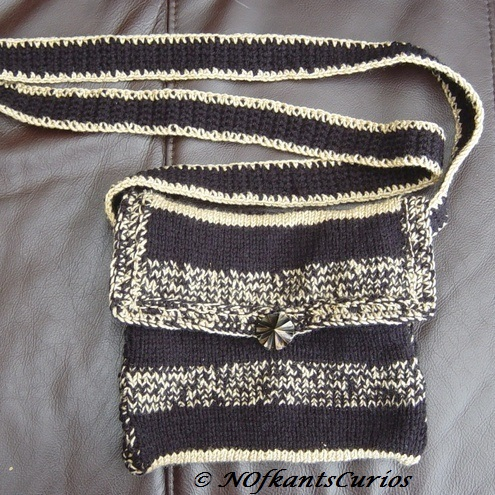Black Gold Hand Knitted & Crocheted Handbag, Long Crocheted Shoulder strap