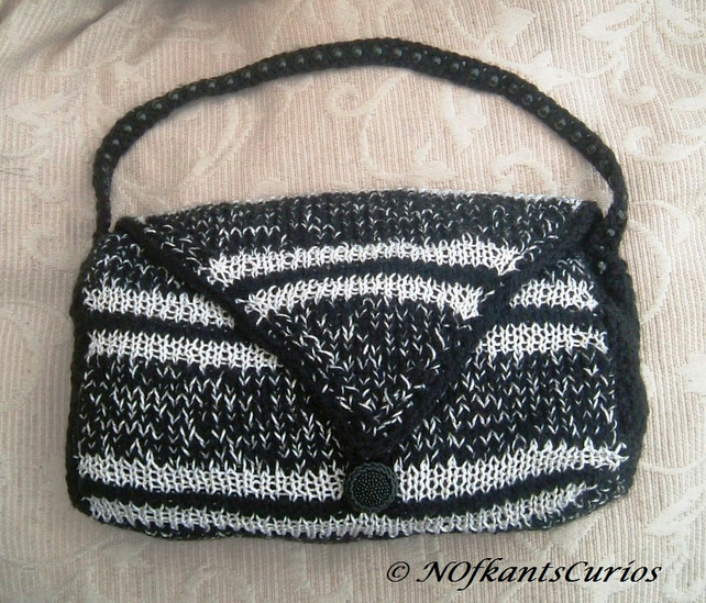 Magpie Inspired Hand Knitted & Crocheted Handbag with Bead Strap