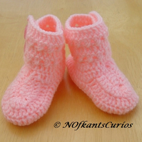 Bright Pink Crocheted Baby Ankle Boots, with Double buttons.
