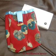 Floral Silk - Tied to my Gadget Pouch, Silk & Satin Gadget Pouch.