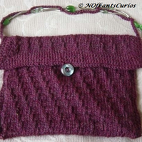 Luscious Berry! Hand Knitted & Crocheted Handbag & Beaded Strap