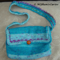 Aran Aqua Turquoise, Hand Knitted, Crocheted  & fully lined Handbag!