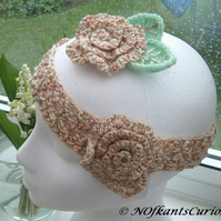 Golden Rose!  Crocheted Hair Band Brooch Set with Rose Detailing.
