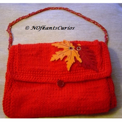 Firey Leaves! Hand Knitted & Crocheted Handbag, Bohemian Glass Bead Strap.