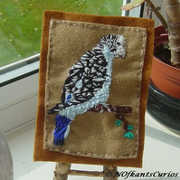 Blue Budgie, Embroidered Yarn and Felt Picture.