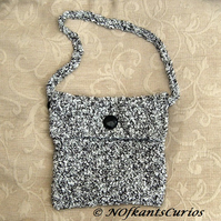 Storm Cloud Hand Crocheted Handbag with Vintage Glass Buttons.