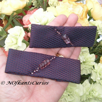 Two Tone Tied to my Hair! Pair of Hair Accessories from Gent's Neck Ties.