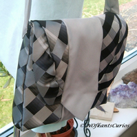 Tied to Silver & Grey!  Unique Handbag Made from Gent's Neck Ties!