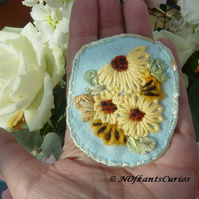 Embroidered Sunflower felt, ribbon and yarn Brooch.
